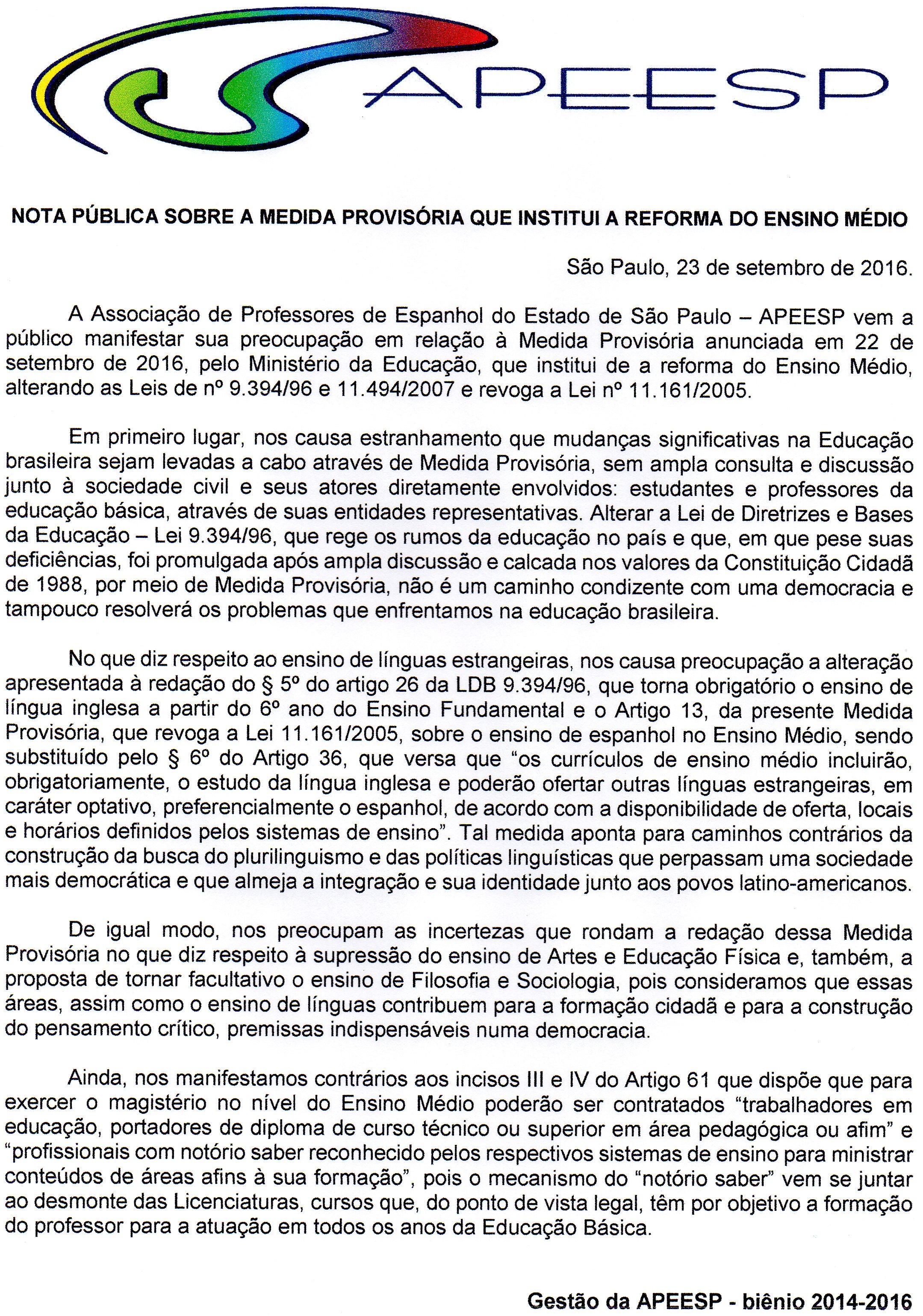 NOTA PÚBLICA - MP DO ENSINO MÉDIO